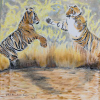 Oilpainting on canvas from two tigers fighting